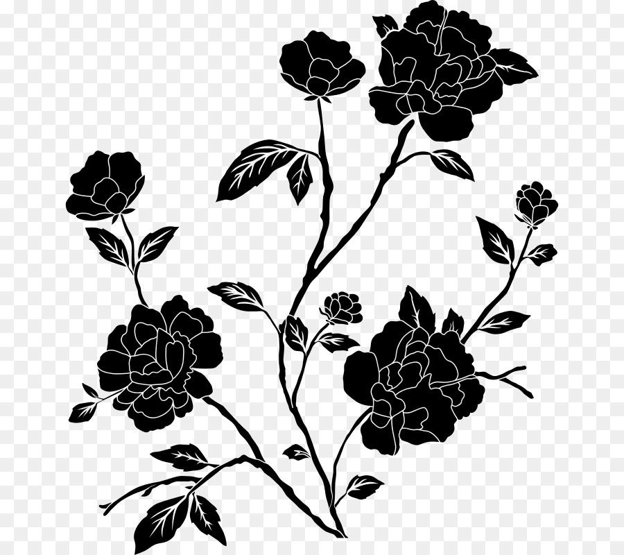 Flor Preto E Branco Desenho Png Transparente Grátis