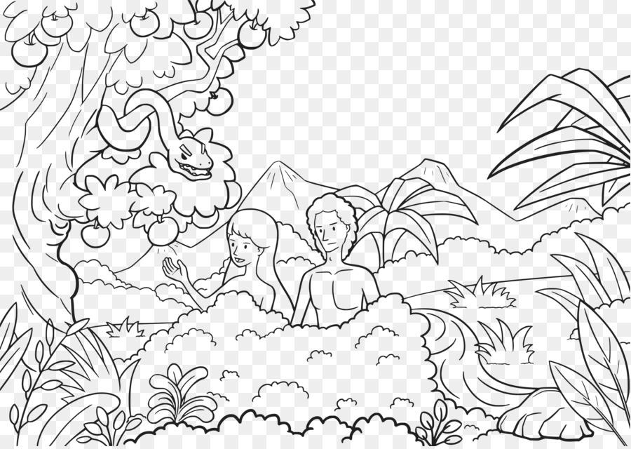 Adao E Eva Jardim Do Eden Livro De Colorir Png Transparente Gratis
